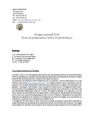 Publication de la note de synthèse Budget Primitif 2019