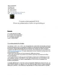 Publication de la note de synthèse Compte administratif 2018